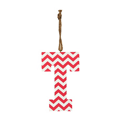 Pink Chevron Monogram T Hanging Letter