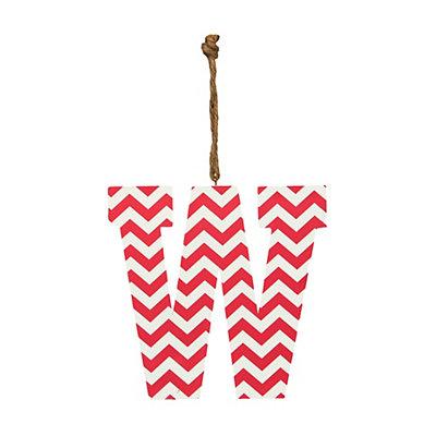 Pink Chevron Monogram W Hanging Letter