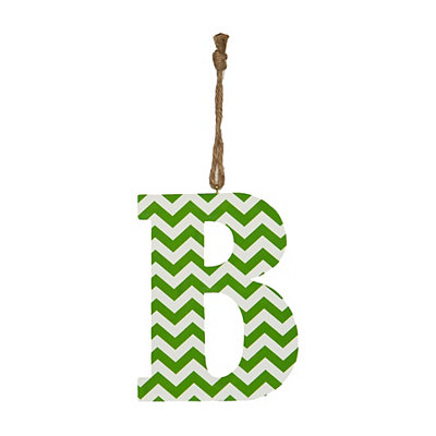 Green Chevron Monogram B Hanging Letter