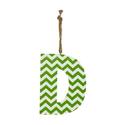 Green Chevron Monogram D Hanging Letter