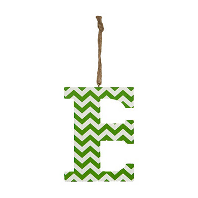 Green Chevron Monogram E Hanging Letter