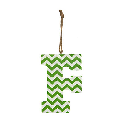 Green Chevron Monogram F Hanging Letter