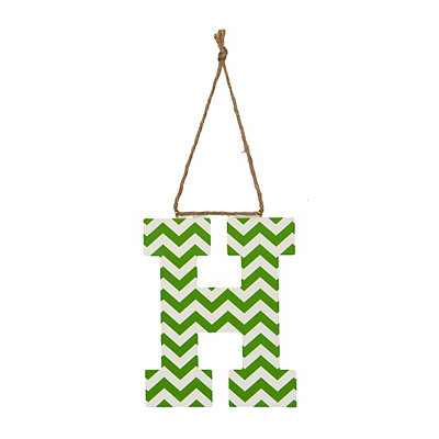 Green Chevron Monogram H Hanging Letter