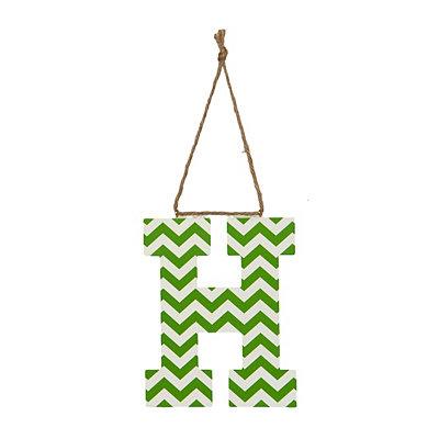 Green Chevron Monogram H Hanging Letter