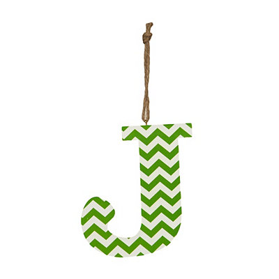 Green Chevron Monogram J Hanging Letter