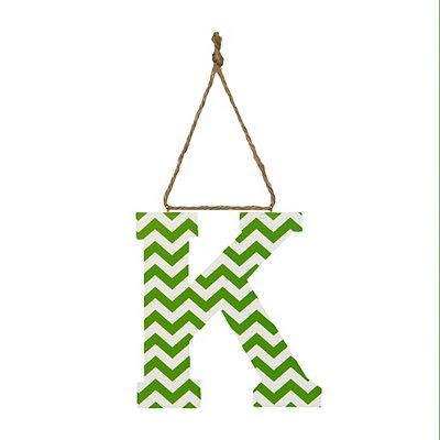 Green Chevron Monogram K Hanging Letter