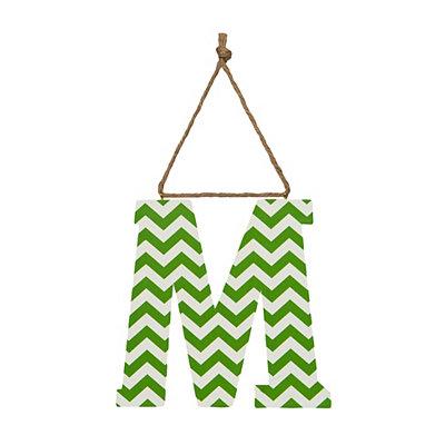 Green Chevron Monogram M Hanging Letter