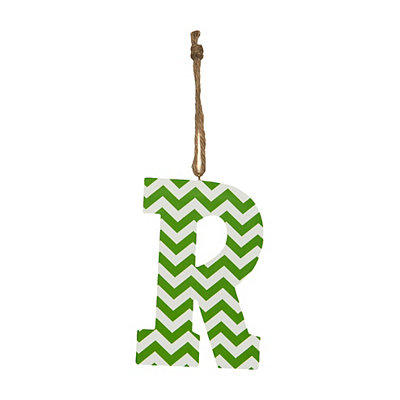 Green Chevron Monogram R Hanging Letter
