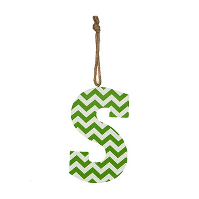 Green Chevron Monogram S Hanging Letter