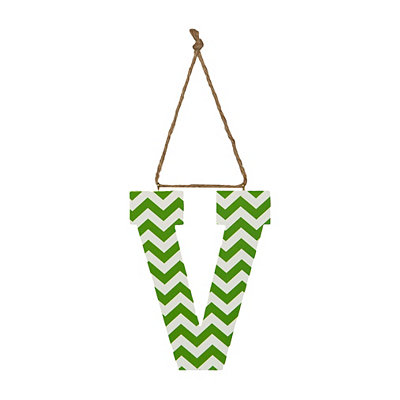 Green Chevron Monogram V Hanging Letter