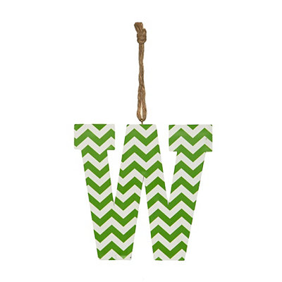 Green Chevron Monogram W Hanging Letter