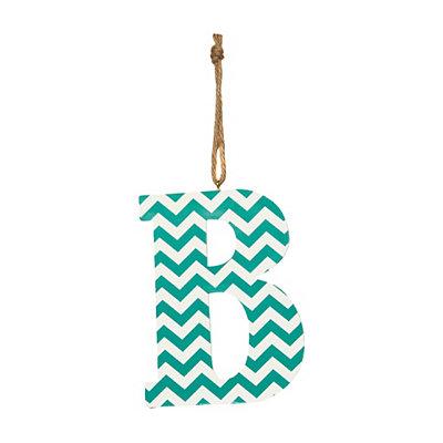 Turquoise Chevron Monogram B Hanging Letter
