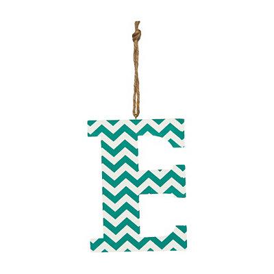 Turquoise Chevron Monogram E Hanging Letter