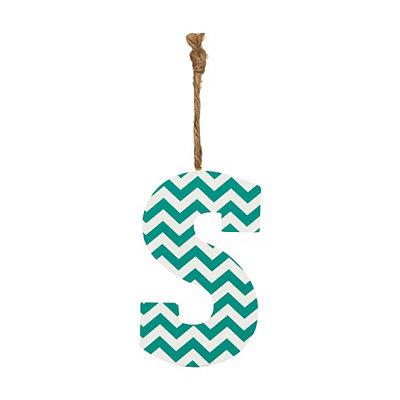 Turquoise Chevron Monogram S Hanging Letter