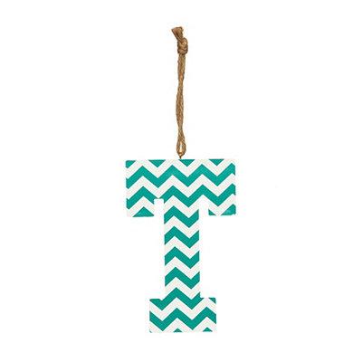 Turquoise Chevron Monogram T Hanging Letter