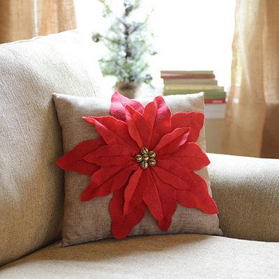 Red Poinsettia Jingle Throw Pillow