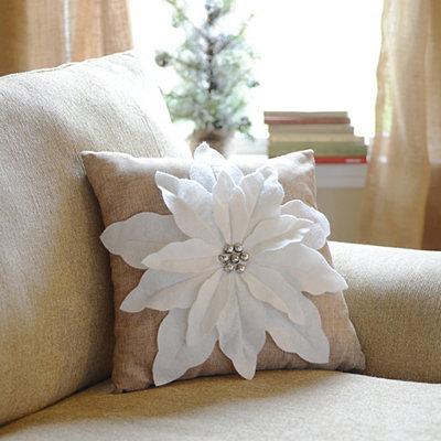 White Poinsettia Jingle Throw Pillow