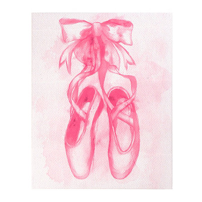 Pink Ballerina Slippers Canvas Art Print