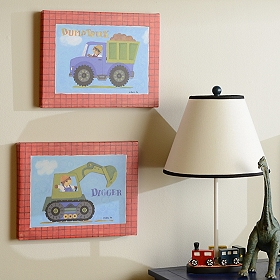 Digger & Dump Truck Canvas Art Prints, Set of 2