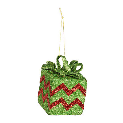Glittery Red Chevron Gift Box Ornament