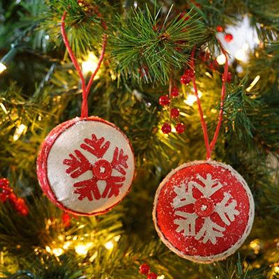 Burlap Ball Snowflake Ornaments, Set of 2