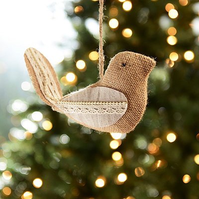 Burlap and Lace Bird Ornament