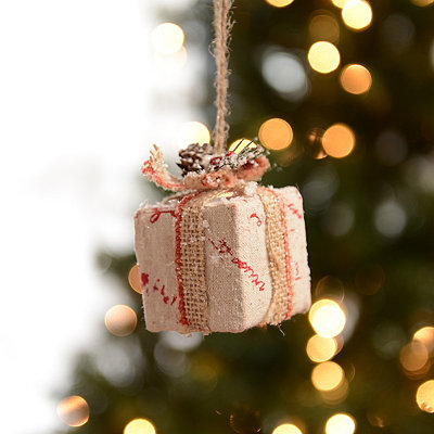 Red Writing Burlap Present Ornament