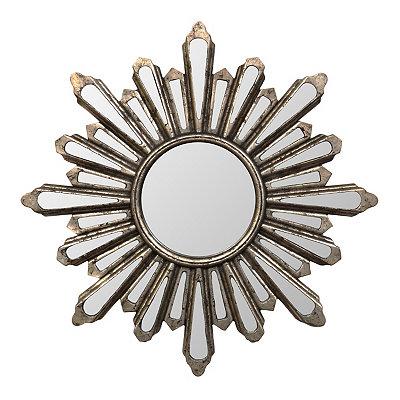 Antique Silver Starburst Mirror, 28 in.