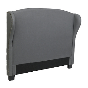 Gray Linen Wingback King Headboard