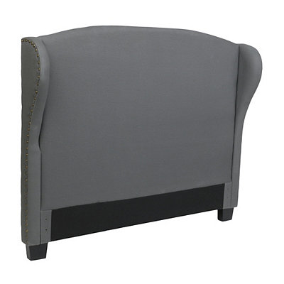 Gray Linen Wingback King Headboard