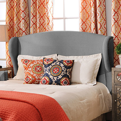 Gray Linen Wingback Queen Headboard