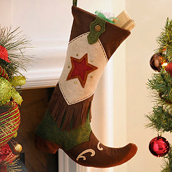 Green Western Boot Stocking