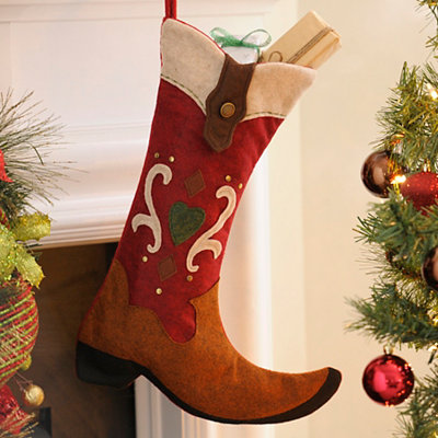 Red & Tan Western Boot Stocking