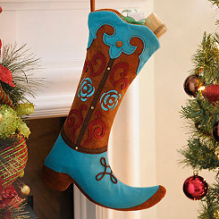 Turquoise & Brown Western Boot Stocking