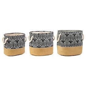 Black Ikat Burlap Storage Bins, Set of 3