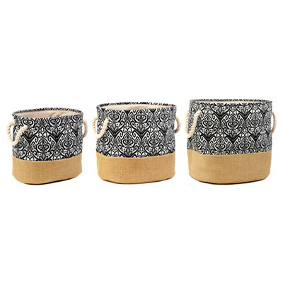 Black Ikat Burlap Storage Bins, Set of 3