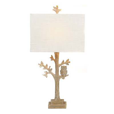 White Owl Tree Table Lamp