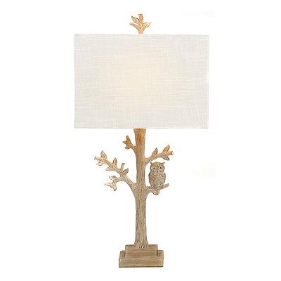 White Owl Tree Table Lamp