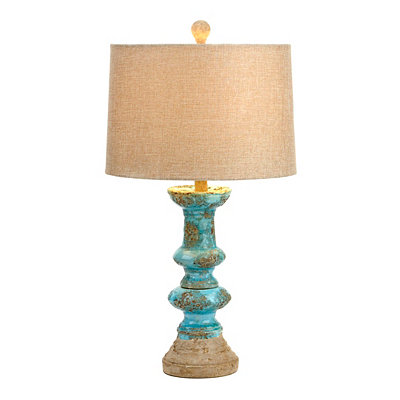 Weathered Rustic Turquoise Table Lamp