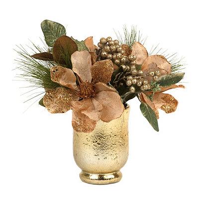 Bronze Magnolia & Pine Floral Arrangement