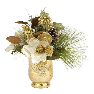 Cream Magnolia & Pine Floral Arrangement