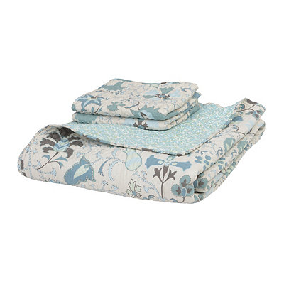 Blue Floral 3-pc. Queen Quilt Set