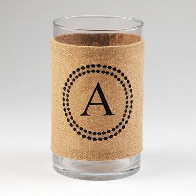 Burlap Monogram A Vase