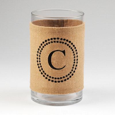 Burlap Monogram C Vase