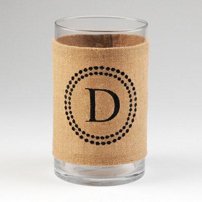 Burlap Monogram D Vase
