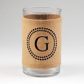 Burlap Monogram G Vase