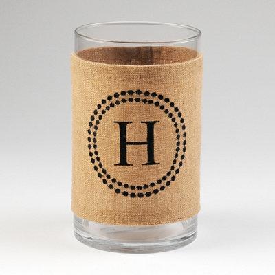 Burlap Monogram H Vase