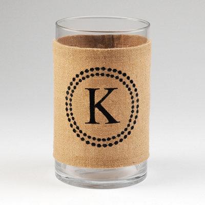 Burlap Monogram K Vase