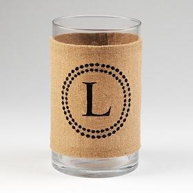 Burlap Monogram L Vase