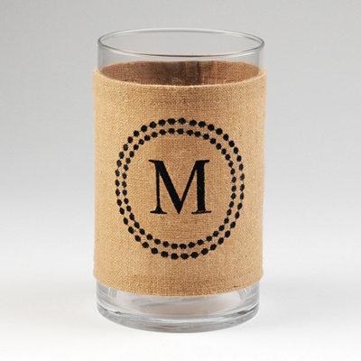 Burlap Monogram M Vase